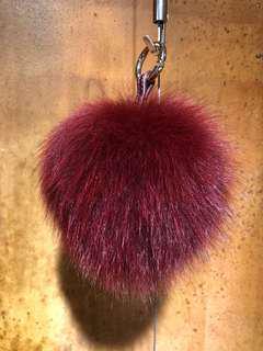 🚚 狐狸毛球掛飾酒紅色