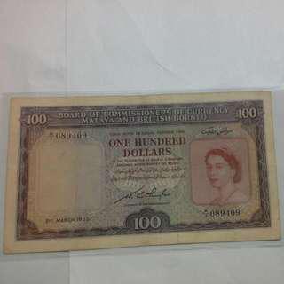 Malaya $100 1953 Qeii Note