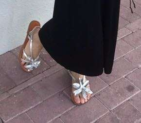 Flower Silver Leather Sandals