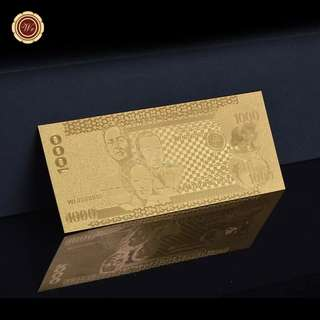 🚚 2010 Year Philippines Banknote - 1000 Piso Gold Plated