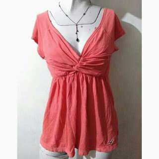 SALE preloved classy medium peach hollister cotton blouse