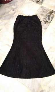 Lace rose mermaid black skirt