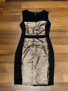 Glamourous sexy black dress with bronze sequins