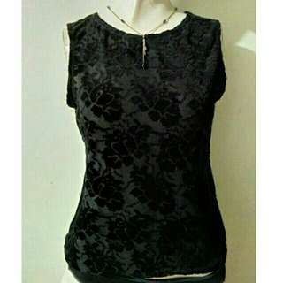 SALE preloved classy small black blouse w/ rose cut outs