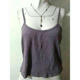 SALE Preloved plum cropped cotton strappy top