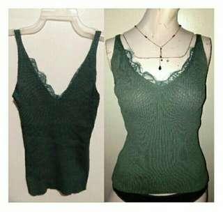 SALE NEW classy Pantone Green cotton knits vcut top w/ lace