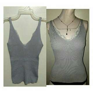 SALE NEW classy gray cotton knits vcut strappy top with lace