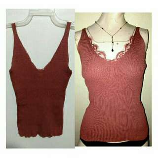 SALE NEW classy Coral Red cotton knits vcut top with lace