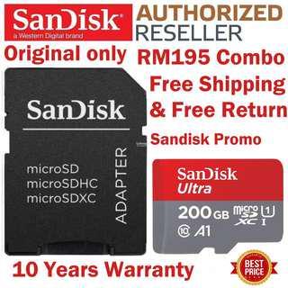 Original SanDisk 200GB Micro SD Card 100MB/s Ultra A1 C 10