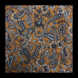 🚚 80's衣櫥🖤日本製 經典古著 迷幻滿版變形蟲 腰果花 芥末黃 古著襯衫 雪紡襯衫 薑黃色 民族圖騰