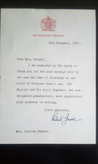 英國皇室書信(Royal Letter)--英女皇 1977