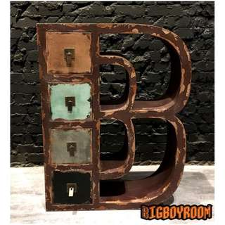 【BIgBoyRoom】工業風家具 美式收納箱B品牌Logo 舊化LOFT擺件法式置物箱 陳列桌攝影道具酒吧餐廳飯店大廳