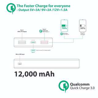 Quick 3.0 Charge Power Bank (12,000mAh)