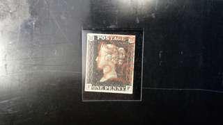 世界首枚郵票---黑便士(Penny Black), 4-margin, 冇揭薄, 靚品相, 折讓價發售!