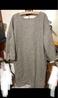 日本小店設計師 淺灰色 森林系毛料洋裝 日本製