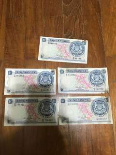 🚚 Old Singapore Notes $1 Orchid 1960s