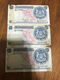 🚚 Old Singapore Notes $1 Orchid Running
