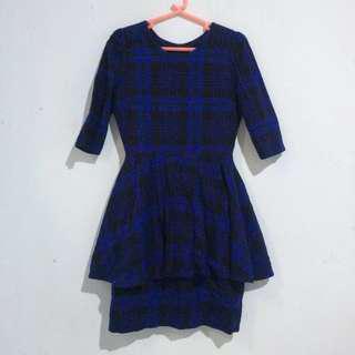 Blue Checkered Peplum dress