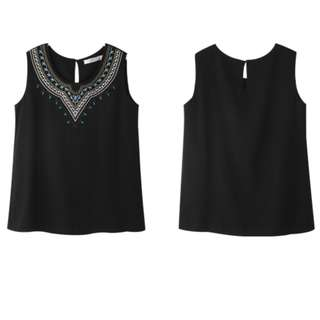BN OBDesign Embroidered Blouse in Black