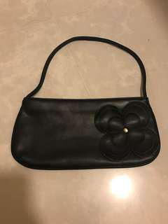 Black Leather Floral Handbag
