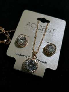 Accent Cubic Circonia Earrings and Necklace Set