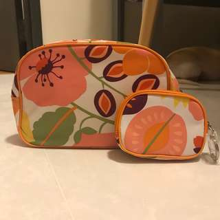 BN Clinique Orange Floral Makeup Cosmetics Pouch x 2