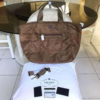 PRADA Large Tote Bag with Sling Corinto (Golden Brown) color