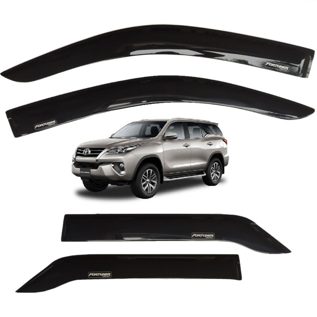 2015-2018 Toyota Fortuner Rain Sun Windows Visor Guard Plain Black Aero  Max 795b7d103c1