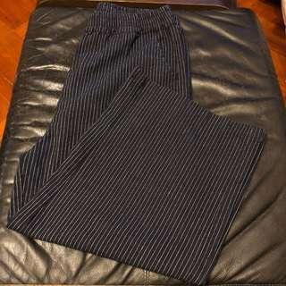 藍色白間七分闊腳褲👖