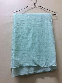 Cotton Shawl Mint Green and Dark Red