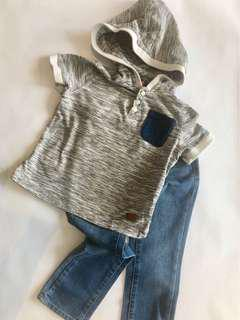 7 For All Mankind Button Tee with Hoodie + Jean Set :: size 4T