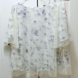 超仙氣 日本碎花紗網上衣