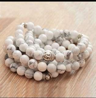 108 matte Howlite prayer beads, white mala