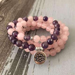 108 Bead Rose Quartz & Amethyst LOVE STONES Mala Charm Bracelet
