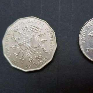 1982 AUSTRALIA 50 cents used Commonwealth Games