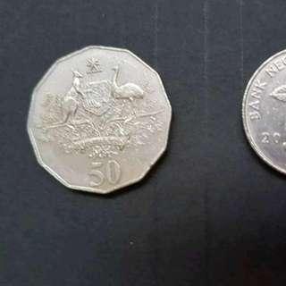 2001 AUSTRALIA 50 cents used kangaroo