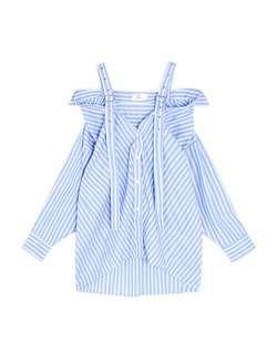 【兩件500免運】金屬釦肩帶排釦直條紋襯衫