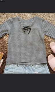 Grey RibCross Top