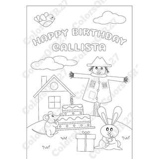 Customise Digital Art of Happy Birthday Colouring Page for Parties - Farm Theme