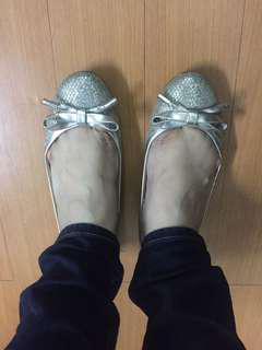 Charles and Keith silver shiny flats