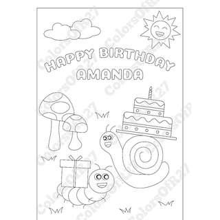 Customise Digital Art of Happy Birthday Colouring Page for Parties- Garden Theme