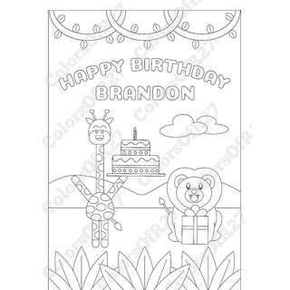 Customise Digital Art of Happy Birthday Colouring Page for Parties - Jungle Theme