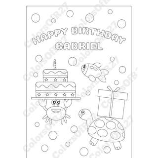 Customise Digital Art of Happy Birthday Colouring Page for Parties - Sea Theme