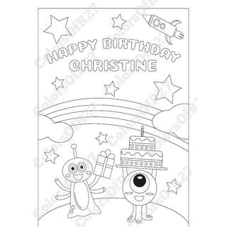 Customise Digital Art of Happy Birthday Colouring Page for Parties - Space Theme