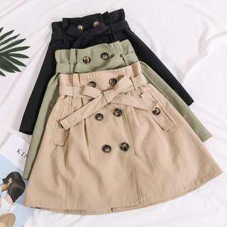 🚚 雙排扣高腰短裙(有實拍)/綁帶包覆顯瘦