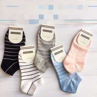 橫條棉質船襪10入(女)