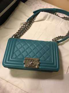 CHANEL small boy turquoise
