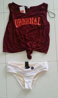 top // bikini bottom (h&m, brand new)