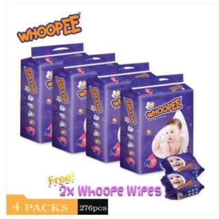 Whoopee Tapes Mega S78/M69/L60/XL54/XXL48 (4 pack) + Whoopee Wipes (2 unit)