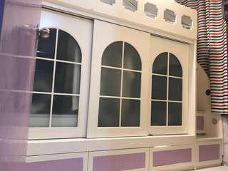 粉紫公主床名店訂造安全實用櫃梯級